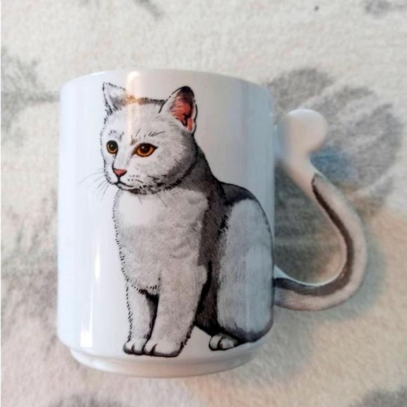 Vintage Cat Kitten Mug Tail Handle Made In Japan G